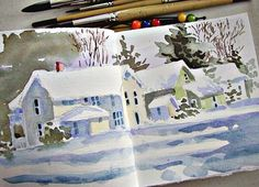 Winter watercolor - In And Out Of The Studio