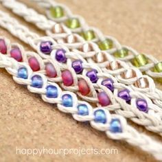 How to Make Woven Wish Bracelets at www.happyhourprojects.com   Great summer project! Cheap and quick to make, it's a perfect camp craft or group craft! #campingcrafts