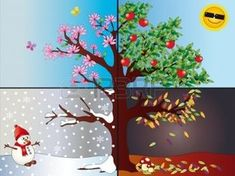 Four seasons. Illustration of tree representing the four seasons: spring, summer , School Projects, Projects For Kids, Art Projects, Diy And Crafts, Crafts For Kids, Paper Crafts, Drawing For Kids, Art For Kids, Four Seasons Art