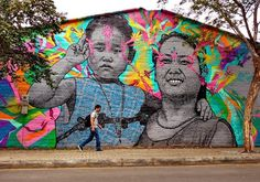 Wall colaboration in Medellin, Colombia by Stinkfish & Empty Boy.