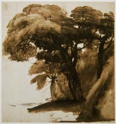 claude lorrain (1600-1682) -  pen and brush with brown wash.