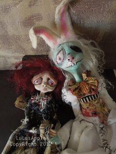 Art Dolls Imaginary friend Creepy rabbit Corpse OOAk Victorian Goth doll Miss Marla and Bunny