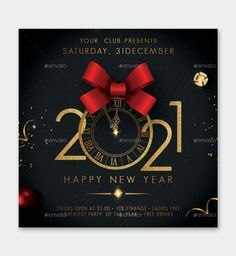 New Year Square Flyer Template PSD