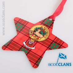 Maxwell Clan Crest & Tartan Star. Free worldwide shipping available