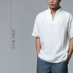 sleeve length on sale at reasonable prices, buy Nakali Chinese Traditional Style Mens Kung Fu Hanfu Tai Chi Zen Casual Shirt Linen Top Collar White Color Short Sleeve from mobile site on Aliexpress Now! Chinese Shirt, Chinese Collar, Camisa Medieval, Casual Shirts For Men, Men Casual, Mens Trends, Chinese Clothing, Chinese Style, Cool Shirts