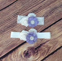 Lavender Ivory Burlap Sash and Headband - Ava Madison Boutique