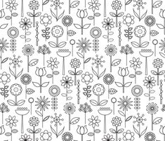 Another perfect nursery or playroom idea...who cares if they color on the wall?! Mod Doodle Blooms fabric by katerhees on Spoonflower - custom fabric