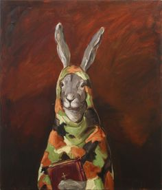 joanna braithwaite guns and bibles oil on canvas, stretcher: 1073 x 918 x 24 mm Camille Rose Garcia, Animal Paintings, Surrealism, Oil On Canvas, Lion Sculpture, Objects, Bible, Statue, Artwork