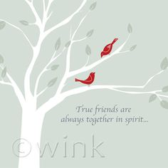 True Friends - Birds in Tree friendship quote print