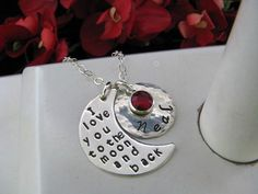 Sterling Silver Hand Stamped Mom Grandmother Love MOMMY I Love You To The Moon & Back Necklace Personalized Moon Shape Pendant via Etsy