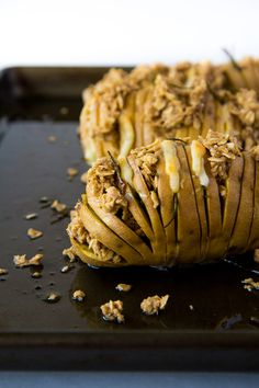 Cheddar Rosemary Hasselback Sweet Potatoes with and Oatmeal Crumble via Immaeatthat