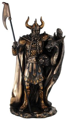 Portraying Loki the Trickster, this statue is a marvelous representation of the Norse god of chaos, mayhem, and discord, showing him unleashing his children Fenrir and Jormungandr upon the world. 10""