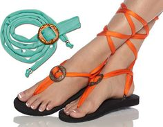 Handmade flat sandal or flip flop with interchangeable by Styleget, $21.00