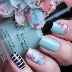 Tiffany Blue Floral Nails With Pink and Coral Roses