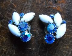 Vintage Weiss Earrings Blue Aurora Borealis Rhinestones Milk Glass Climbing Cluster Clips Hollywood Regency Mid Century by FindCharlotte on Etsy