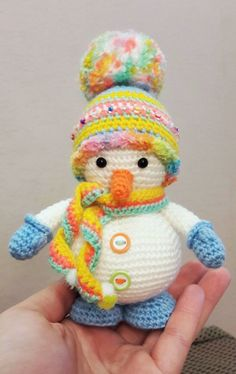 With mittens and hat.  Crochet snowman free amigurumi pattern