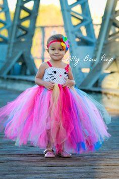 Dress, Flower Girl Dress, Baby Girl, Baby Dress, Girl Dress, Wedding Dress, Kitten, Cat Dress, Kitty Dress, Rainbow Dress, Preemie, Newborn by LillyBowPeep on Etsy https://www.etsy.com/listing/173975133/dress-flower-girl-dress-baby-girl-baby