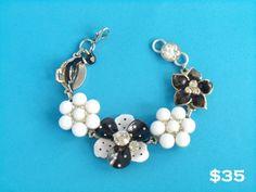Black and white jewelry box bracelet by Pink Dogwoods www.pinkdogwoods.com