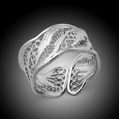 Filigree designed crafted ring 925 sterling silver (Etsy)