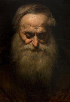 """Jan Matejko, Głowa starca z siwą brodą. Studium głowy starca. 1858. Portret przedstawia starszego mężczyznę zwróconego wprost z pochyloną głową o wysokim czole, powieki przymknięte, siwy zarost – wąsy i bujna broda. Studium wykorzystał artysta przy malowaniu głowy rektora w obrazie """"Zygmunt I nadający przywilej na szlachectwo akademikom krakowskim w roku 1535"""" (1858r.)  #listopad #movember #wąsy #moustache #november"""