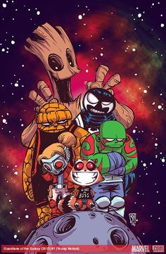 Guardians of the Galaxy :: 1 (All-New, All-Different Marvel) variant by Skottie Young Marvel Comics, Films Marvel, Chibi Marvel, Marvel Vs, Marvel Heroes, Comic Book Artists, Comic Book Characters, Marvel Characters, Comic Books Art