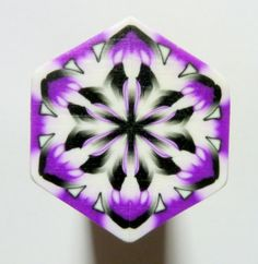 LARGE Purple Black and White Hexagon Polymer Clay door ClaybyKerm