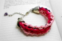 Pink Boho Bracelet / Hand Knit Jewelry / Colorful by byHamelin