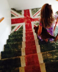 the Union Jack painted on stairs