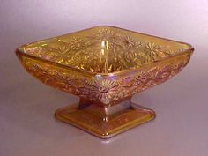 Amber Carnival Glass Footed Open Sugar Bowl.