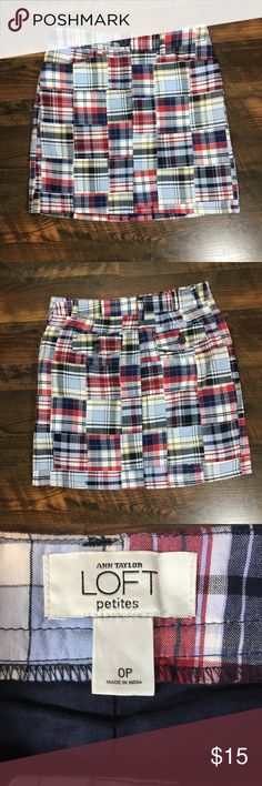 "Ann Taylor Loft Petites madras plaid skirt 0P Waist 14"", hips 17"", length 16"" skirt is lined LOFT Skirts Pencil"