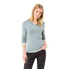 Mintfarbener Feinstrick-Pullover #zerofashion #mint #blue