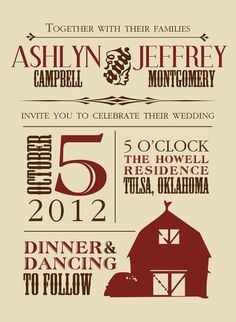 Barn wedding invitation, customizable colors/fonts/wording. Printed or DIY PDF versions available.