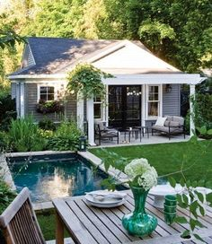 of :: pool dreaming Like the small patio and small pool.Images of :: pool dreaming - Fieldstone Hill DesignLike the small patio and small pool.Images of :: pool dreaming - Fieldstone Hill Design Garden Cottage, Home And Garden, Cozy House, Guest House Cottage, Small House Garden, Garage Guest House, Garage Loft, Dream Garden, Outdoor Spaces