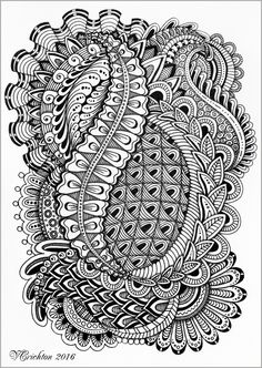 Zentangle art, gelpen, Viktoriya Crichton