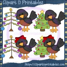 Robins Christmas- #Clipart #ResellableClipart #Christmas #Birds #Robins #ChristmasTrees #Stars #Ornaments #ChristmasLights