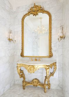 Gorgeous Pewter Baroque Floor Mirror Decorating Ideas in Powder Room Traditional design ideas with Gorgeous antique mirror antiques calacutta chandelier console gilt gold marble mirror Sherle Wagner