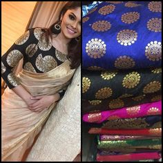 Banarasi Kota saree with banarasi blouse I love the large motif blouse. Such a wonderful way of jazzing up plain saree's Saree Blouse Patterns, Saree Blouse Designs, Brocade Blouse Designs, Brocade Blouses, Indian Dresses, Indian Outfits, Indian Clothes, Bridesmaid Saree, Plain Saree