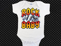 Infant Bodysuit-Creeper-Romper-One Piece Baby Shirt-Cute-Rock A Bye Baby Design