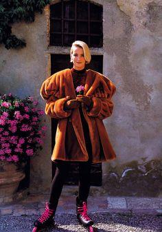 Oliviero Toscani for Elle magazine, August 1990. Coat by Krizia.