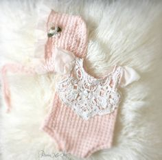 Newborn Pale Peach Romper and Bonnet Set Baby by PetuniaandIvy