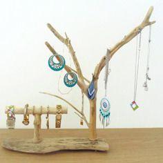 Porte-bijoux bois flotté - présentoir - arbre à bijoux - double - création unique