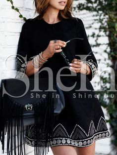 Shop Black Round Neck Embroidered Loose Dress online. SheIn offers Black Round Neck Embroidered Loose Dress & more to fit your fashionable needs.