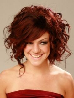 Love this ... color and cut....Gorgeous and voluminous curly bob hairstyle