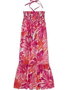 Girls Linen-Blend Floral Maxi Dresses | Old Navy