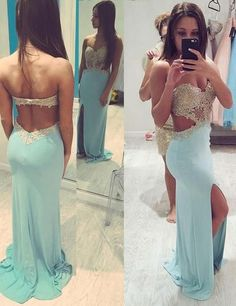 Charming Prom Dress,Backless Split Side Prom Dress,Appliques Beaded