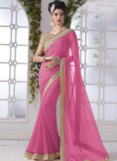Pink Mirror Work Border Chiffon Georgette Designer Party Wear Sarees  www.angelnx.com/Sarees