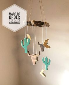 Wooden Crib Mobile – Southwestern Cactus Mobile – Desert Cactus – Buffalo Skull Baby Mobile for nursery - Babyzimmer Western Nursery, Rustic Nursery, Vintage Cowboy Nursery, Wooden Cribs, Western Babies, Third Baby, Baby Arrival, After Baby, Pregnant Mom