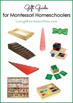 Suggestions of Montessori materials to purchase for Montessori homeschools along with links for DIY Montessori materials and Montessori-friendly products that work well in Montessori homeschools
