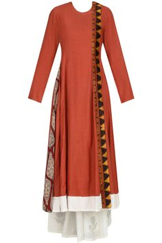 Lava orange printed panel overlap angrakha kurta with off white palazzos available only at Pernia's Pop Up Shop.