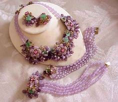 HASKELL lavender parure with glass beads, seed beads, petals and leaves.